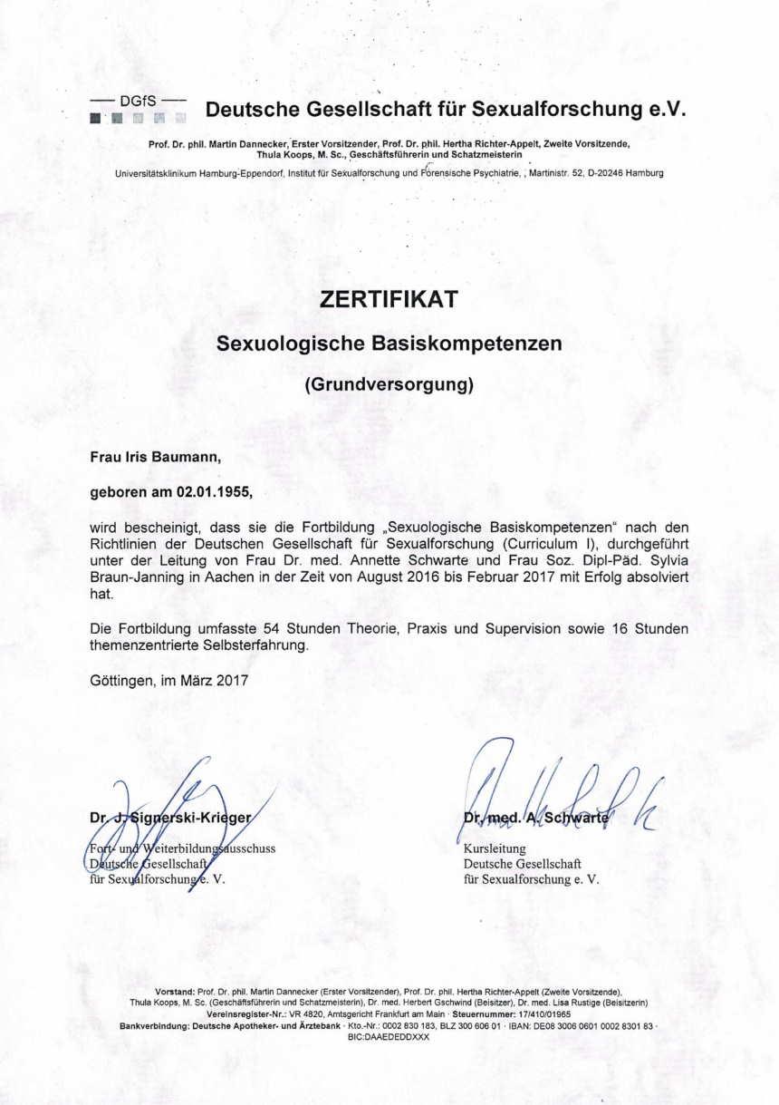 DGfS Zertifikat - Paar- und Sexualtherapie Wiesbaden