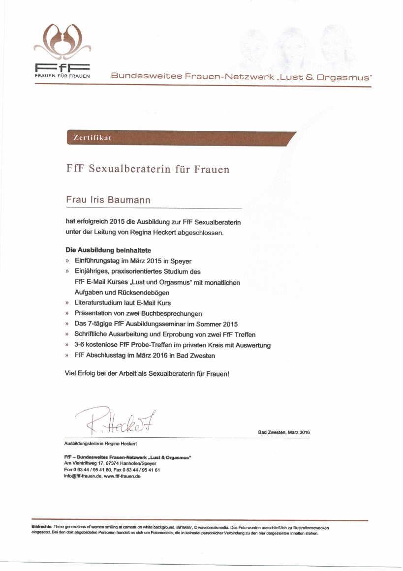 FfF Zertifikat - Paar- und Sexualtherapie Wiesbaden